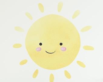 Sun Wall Mural Peel and Stick Sun Removable Sun Decal Sun Wall Art Sticker Sun Wall Design c30 Happy Sun Wall Decal Sun Wall Sticker