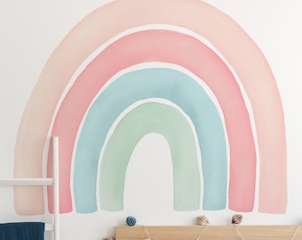 Watercolor Rainbow Wall Sticker, Coral - Peel and Stick