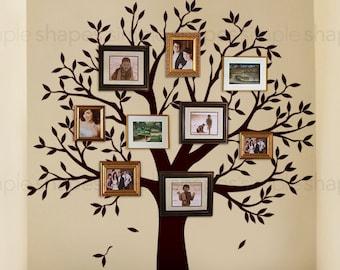 Narrow Family Tree Decal - Photo Frame tree Decal - Tree Wall Sticker