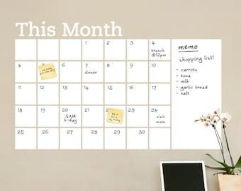 Trocken abwischbaren Wandkalender mit Memo - Wandtattoo