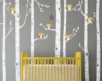 Birch Tree with Owls Wall Decal, Wall Mural, Baby Nursery Decor, Nature Wall Decals, Wall Decor - W1112