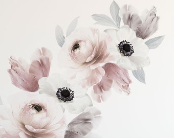 Floral Wall Sticker, Romantic Pink Grey Floral Wall Stickers - Peel and Stick Removable Stickers