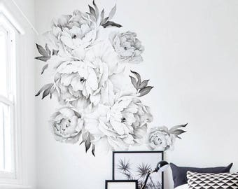 Peony Flowers Wall Sticker, Black & White Watercolor Peony Wall Stickers - Peel and Stick Removable Stickers