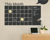 Chalkboard Wall Calendar with Memo - Vinyl Wall Decal