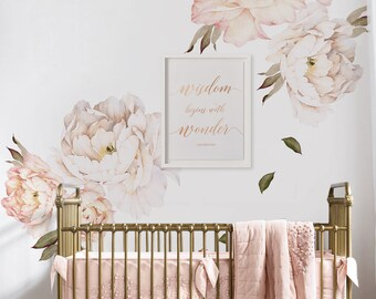 Peony Flowers Wall Sticker, Vintage Peach Watercolor Peony Wall Stickers    Peel And Stick Removable Stickers