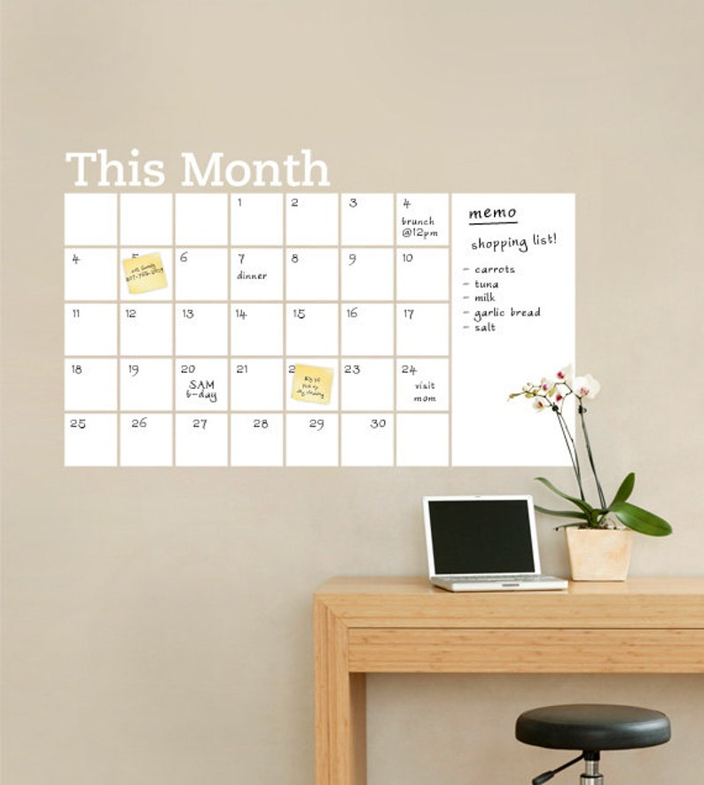 dry erase wall calendar with memo vinyl wall decal | etsy