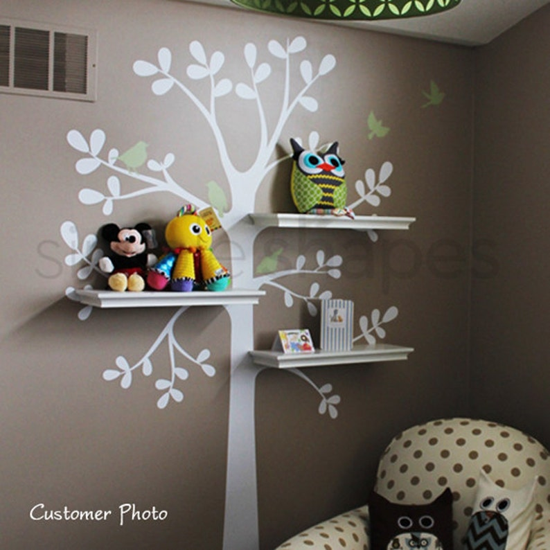 wall decals baby nursery decor: shelving tree decal with birds | etsy
