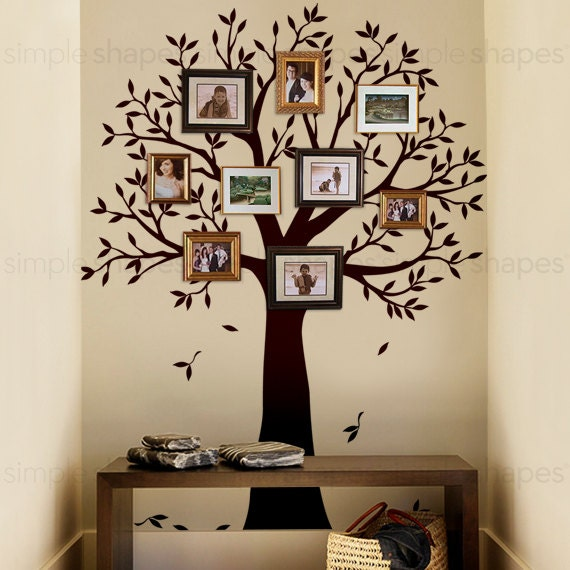 Narrow Family Tree Decal Photo Frame Tree Decal Tree Wall Etsy