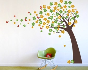 Blowing Cherry Blossom Tree with Butterflies - Vinyl Wall Decals