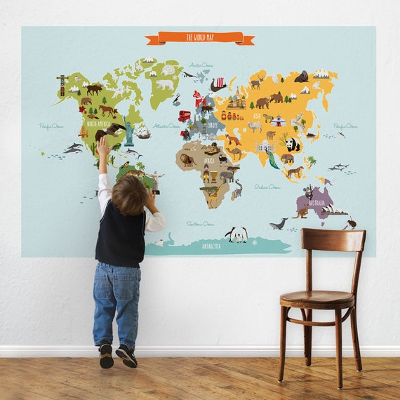 World map peel and stick poster sticker etsy image 0 gumiabroncs Images
