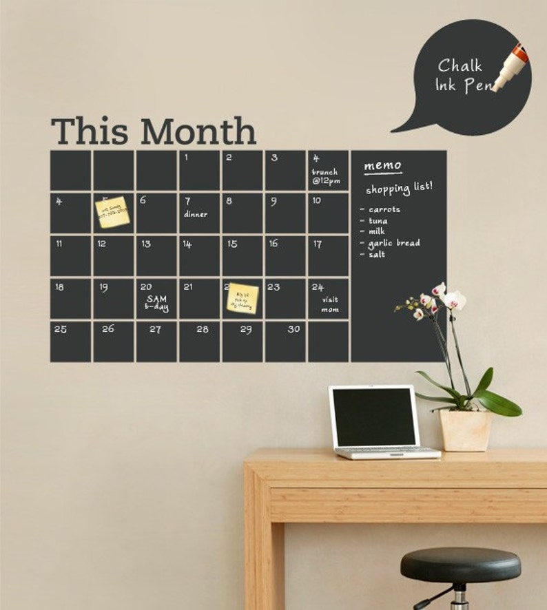 chalkboard wall calendar with memo vinyl wall decal | etsy
