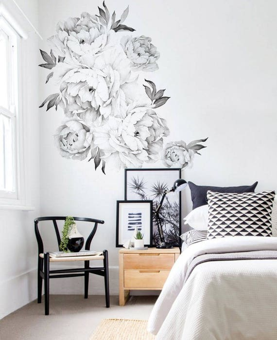 Peony flowers wall sticker black white watercolor peony wall stickers peel and stick removable stickers image 0 mightylinksfo