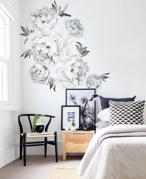 Peony flowers wall sticker black white watercolor peony etsy image 0 mightylinksfo