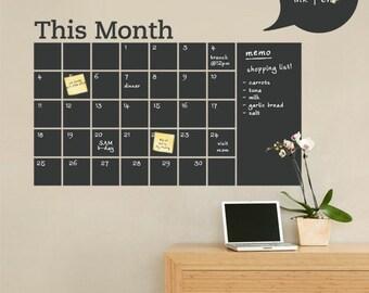 Chalkboard Wall Decal - Monthly Calendar