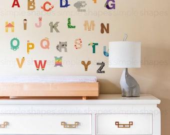 Alphabet Wall Stickers, Alphabet Animals - Peel and Stick Wall Sticker