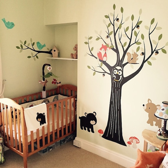 woodland nursery wall decals nursery tree wall decal | etsy