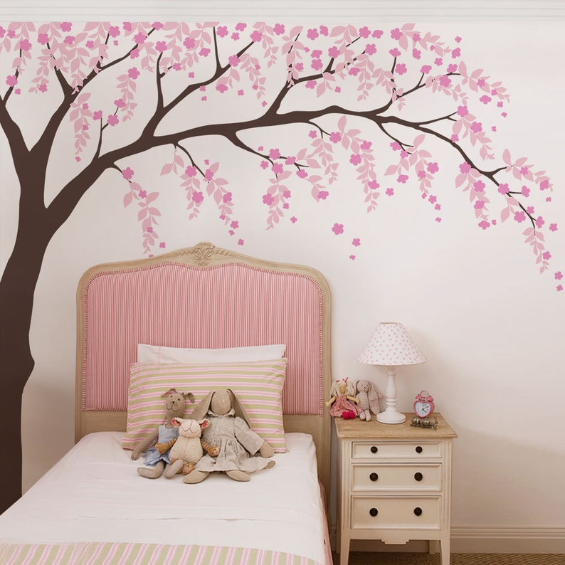 cherry blossom weeping willow tree decal baby girls nursery | etsy