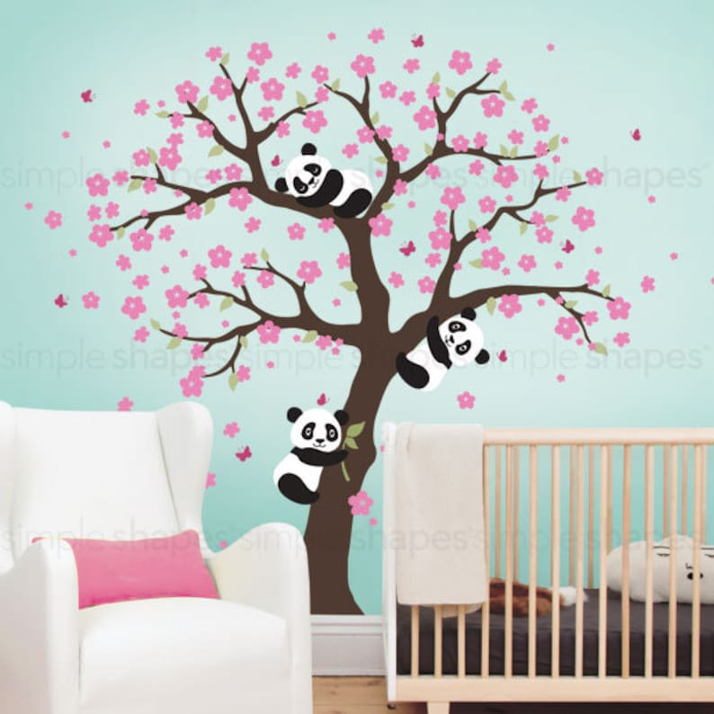 panda and cherry blossom tree wall decal panda wall decal | etsy