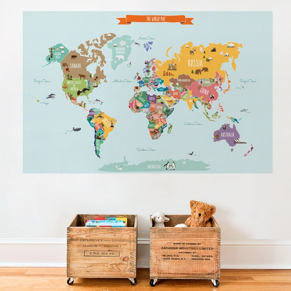 world map decal countries of the world map kids country