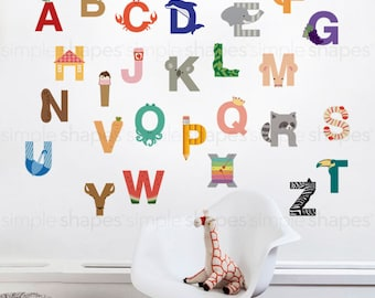 Wall Decal Kids Wall Stickers Kids Alphabet - Peel and Stick Wall Sticker