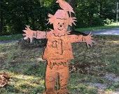 Scarecrow Garden Stake, Metal, Large, Yard Art, Garden Art, Lawn Ornament, Autumn, Fall, Garden Decoration, Outdoor, Rustic, Primitive, Crow