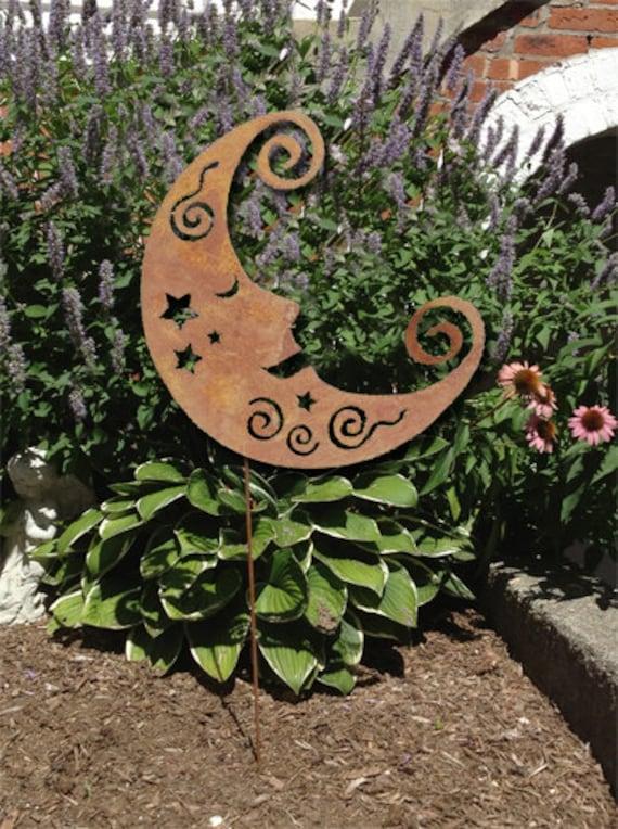 Merveilleux Moon Garden Stake Or Wall Hanging Garden Art Decor Metal | Etsy
