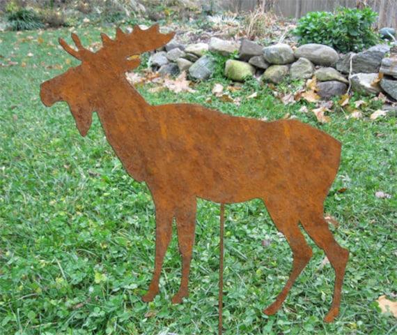 Moose Garden Stake Or Wall Hanging / Garden Art / Lawn
