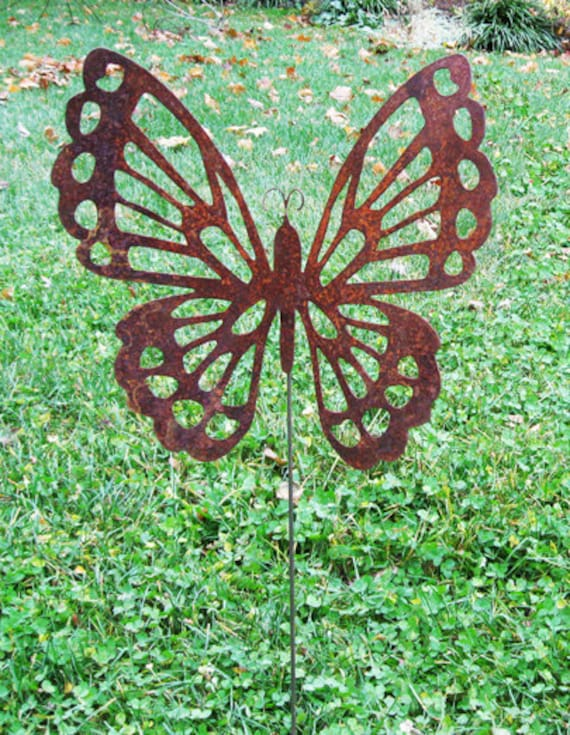 Superieur Butterfly Garden Stake Lawn Art Rust Metal Outdoor Lawn | Etsy