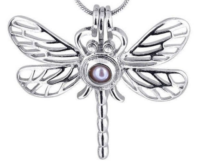 Locket Dragonfly nature Wholesale 4pcs lot pearl cage