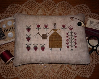 Primitive Cross Stitched Lady & Strawberry Pinkeep