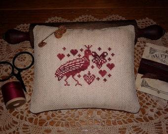 Primitive Cross Stitched Red Bird & Hearts Pinkeep