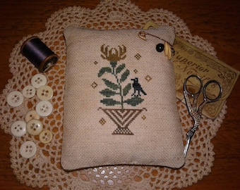 Primitive Cross Stitched Gold Floral & Crow Pinkeep