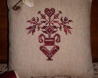 Primitive Cross Stitched Redwork Pinkeep