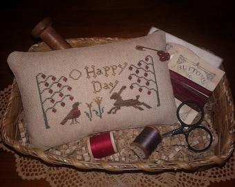 Primitive Cross Stitched O Happy Day Pinkeep