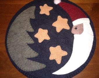 Primitive Wool Felt Santa Penny Rug
