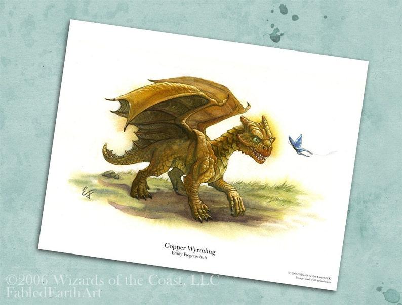 Baby Copper Dragon 8 5 x 11 Print