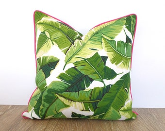 Tropical Green Pouf Ottoman Outdoor Pouf Swaying Palms Etsy