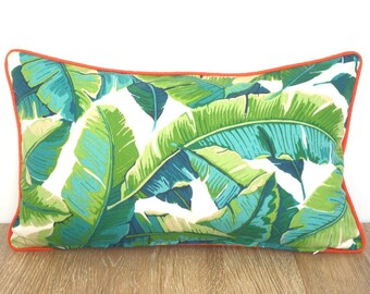 Tropical cushion cover 20x12 Palm Beach Decor, swaying palm outdoor pillow case, green outdoor cushion case, banana leaf lumbar cover
