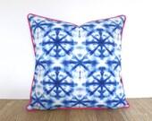 Shibori pillow cover 18x18, blue and pink outdoor pillow case, medallion outdoor cushion cover front porch decor