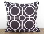 Black outdoor pillow cover 18x18 front porch decor, geometric cushion case black and white decor, modern bench pillow cover
