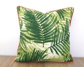 Green palm leaf pillow cover front porch decor, tropical bench cushion case Tommy Bahama fabric, green and orange outdoor pillow cover