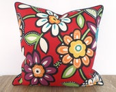 Red flower pillow cover 18x18, floral outdoor pillow case front porch decor, red bench cushion cover Christmas Decor