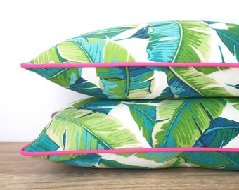 Green outdoor pillow cover 18x18, palm leaf pillow case, banana leaf cushion case Palm Beach Decor, tropical pillow cover green and pink