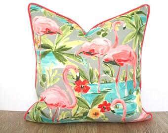 Coral outdoor pillow cover flamingo decor, tropical outdoor cushion island decor, beach house pillow case, coral flamingo pillow with piping