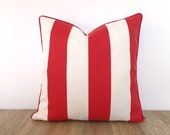 Red and white pillow cover 18x18 Christmas decoration, color block outdoor pillow case, red stripe bench cushion cover front porch decor