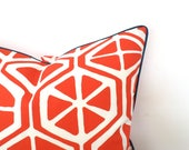 Orange outdoor pillow cover 18x18 front porch decor, geometric pillow case, trellis outdoor bench cushion case gift for her