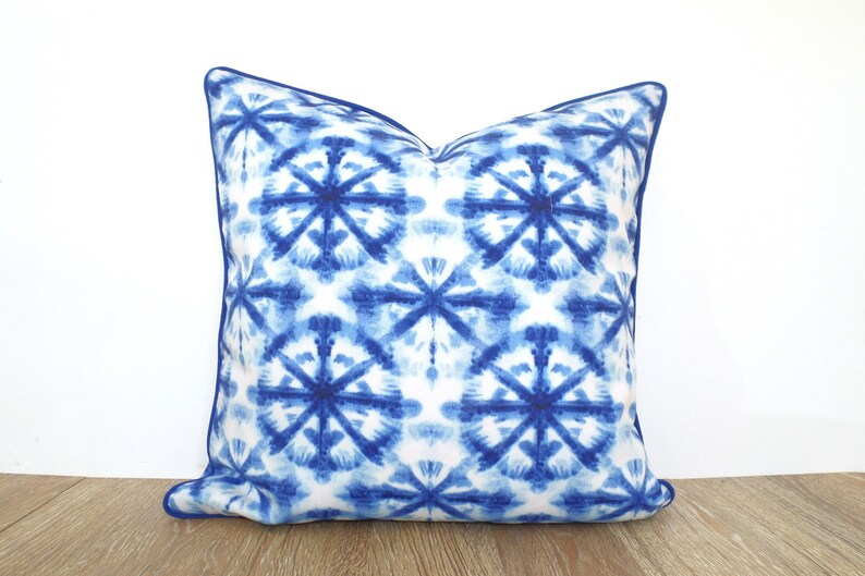 Blue Shibori Pillow Cover 18x18 Blue And White Outdoor Etsy