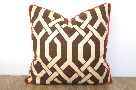 Brown Trellis Pillow Cover 40x40 Geometric Sofa Cushion Fall Etsy Magnificent Etsy Pillow Covers 20x20