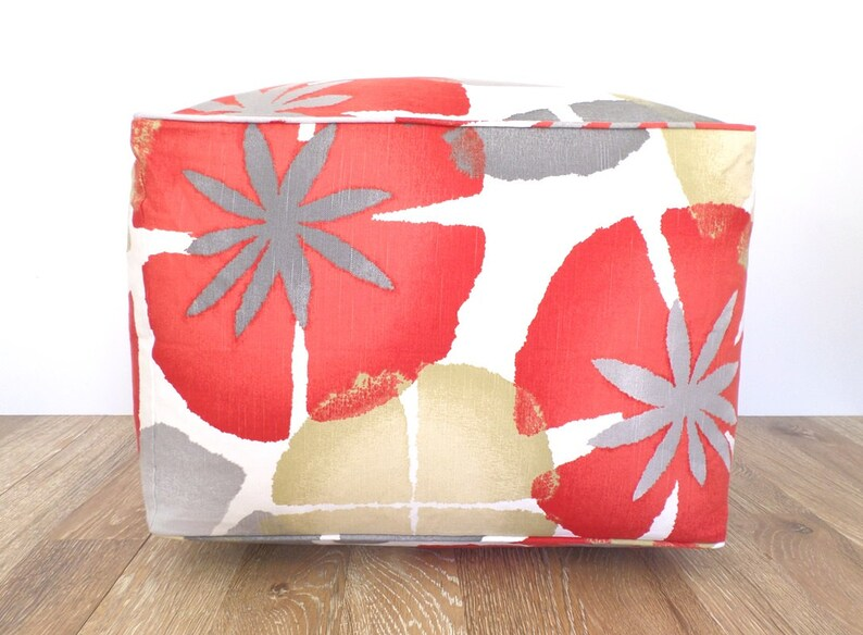 Remarkable Red Bean Bag Chair Cover 20X20X14 Flower Pouf Ottoman Case Red And Grey Large Floor Cushion Cover Botanical Print Unemploymentrelief Wooden Chair Designs For Living Room Unemploymentrelieforg