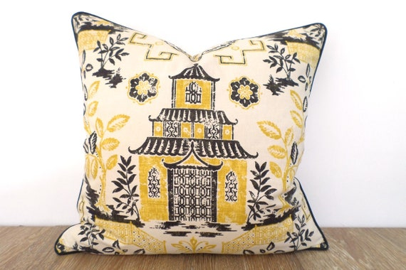 Chinoiserie Pillow Cover 40x40 Black And Yellow Pillow Sham Etsy Impressive Etsy Pillow Covers 20x20
